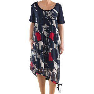 Plus Size Cotton Dress with Print - La Mouette